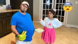 Sally teaches DAD to eat healthy food and exercise story