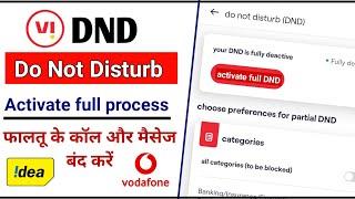 vi DND service activate full process    idea vodafone सिम में फालतू के Call और message आना बंद करें