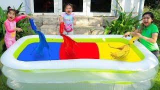 Suri & Annie Pretend Play w/ Magic Colors Inflatable Swimming Pool