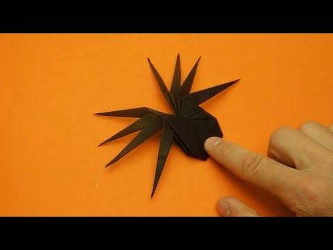 Origami Laba-laba Keluar Dari Kertas. Origami Mainan Laba-laba Poprygushka.