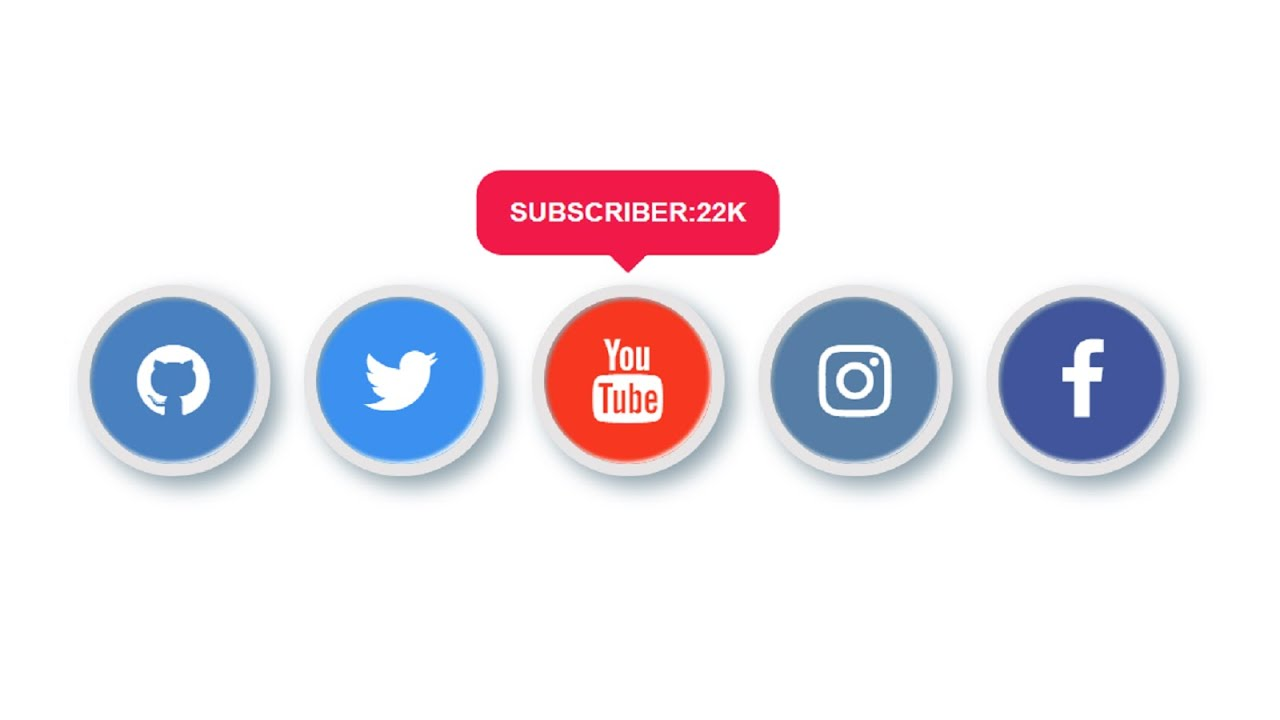 Social Media Buttons with Hover Effect Using HTML & CSS
