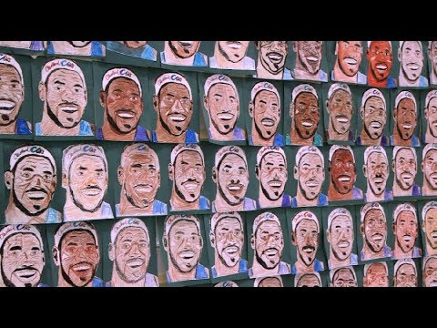Kids create 500 portraits of LeBron James in hopes of World Record