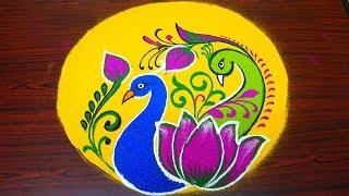 Simple And Easy Peacock Rangoli Designs-beautiful And Innovative Multicolor Kolam Designs-muggulu