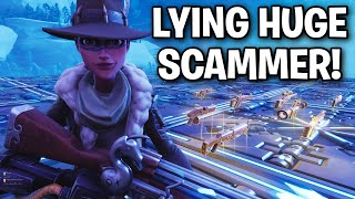 Insanely LYING Scammer! Loses his mind! 😂😂 (Scammer Get Scammed) Fortnite Save The World