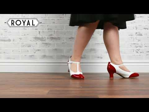 Gatsby Two-Tone T-Straps In Red/White By Royal Vintage Shoes