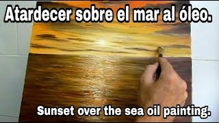 How To Paint Sunset Sea Oil Painting.