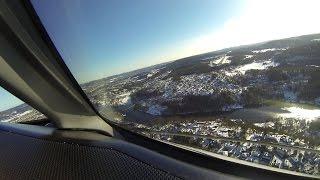 Wideroe Dash 8 300 cockpit view landing Skien, Norway