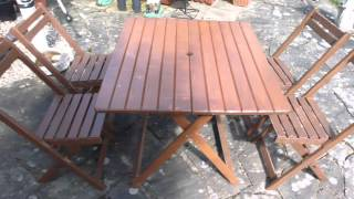 Large Wooden Garden Table 71 X 88 Cm High 71cm + Matching Chairs