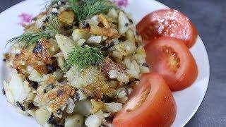 Жареная картошка с грибами  Как пожарить картошку и шампиньоны на сковороде