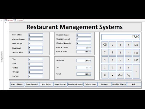 How to Create Restaurant Management Systems  in  Microsoft Access 2016 - Full Tutorial