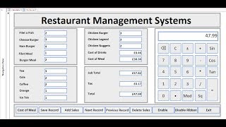 How to create restaurant management systems in microsoft access 2016 with complete calculator. component used for implementation include as follows: button, ...