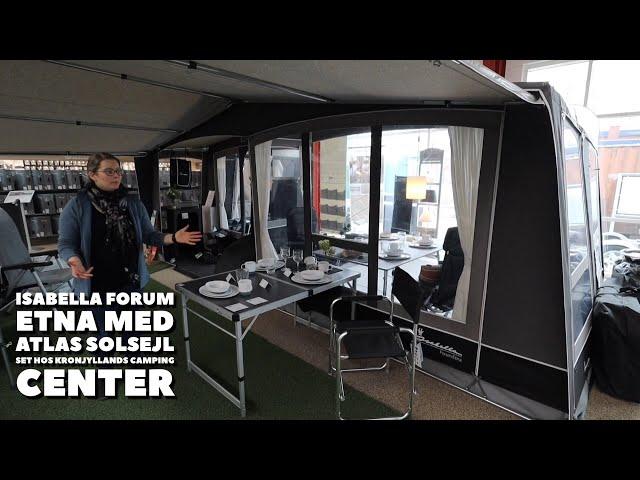 Isabella Forum Etna med Atlas solsejl set hos Kronjyllands Camping Center (Reklame)