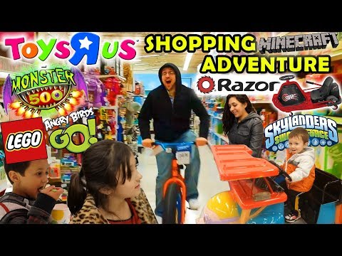 TOYS R US Family Shopping Adventure - Razor Crazy Cart + Monster 500, Angry Birds Go, Minecraft