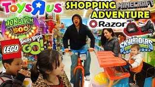 Toys R Us Family Shopping Adventure   Razor Crazy Cart   Monster 500, Angry Birds Go, Minecraft