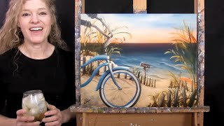 Download Learn How to Paint SUNRISE BEACH BIKE with Acrylic - Paint and Sip at Home - Step by Step Tutorial