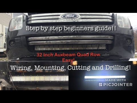 How to Install a Light Bar into the Grill of your Car or Truck | Unboxing, Drilling and Wiring