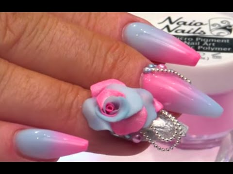 Pink and Blue Fade with 3D Flower Part 3