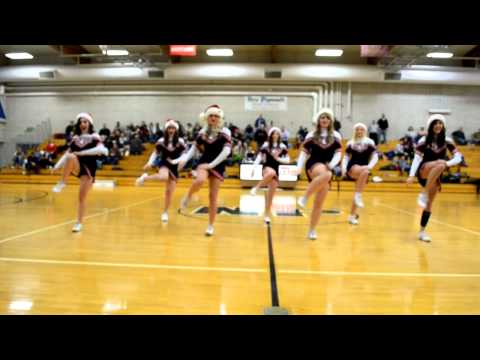 New Plymouth High School Pilgrims Varsity Cheerleaders Santa hats Preformance