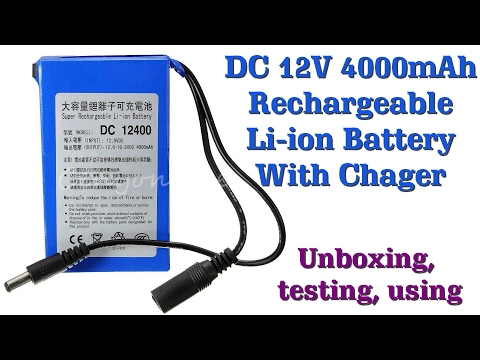 12V DC 4,000mAh Lithium Ion (LIPO) battery with charger