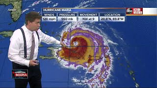 Hurricane Maria Category 3 storm update Thursday 5pm