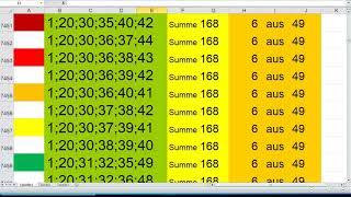 Lotto 6 aus 49 Summe 168 video…