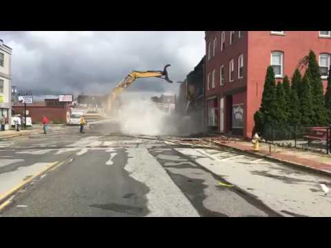 A downtown Webster building is demolished following tornado