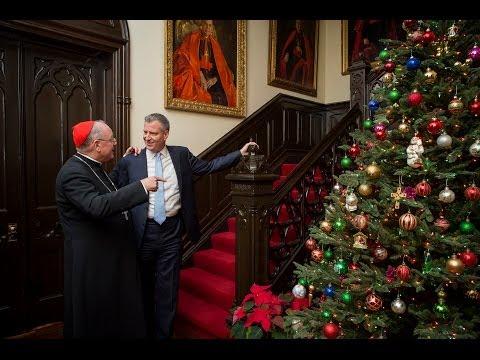 Mayor Bill de Blasio with Timothy Cardinal Dolan, Archbishop of New York