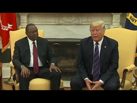 Trump meets Kenyan president, ignores questions on McCain