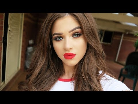 Full Coverage Christmas Glam Makeup Tutorial Gold Liner Red Lips