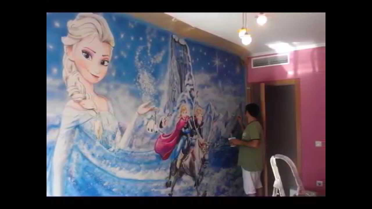 Video mural habitaci n infantil ni a youtube for Cuartos para ninas frozen