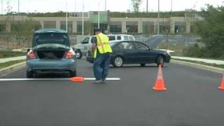 Collapsible Traffic Cone Police Office Demo - Setting up