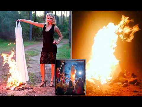 Divorced women are BURNING their wedding dresses and hosting parties over the flames