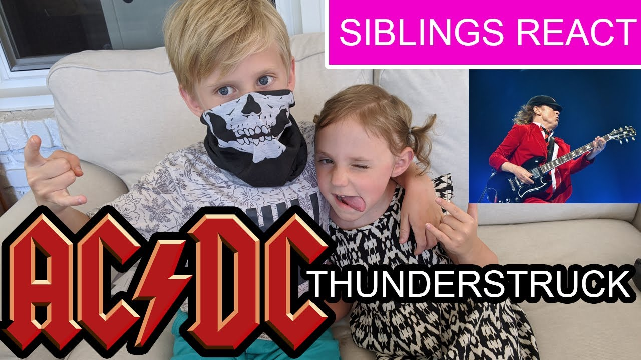 Adorable Reaction - AC/DC  (Thunderstruck) featuring the little bro and sis