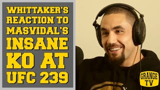 Robert Whittaker's reaction to Jorge Masvidal's insane knock out at UFC 239
