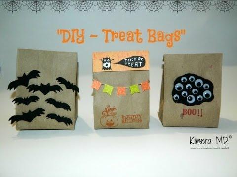 Diy treat bags de papel kraft halloween youtube - Como decorar bolsas de papel ...