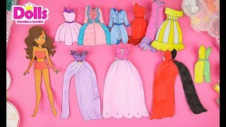 10 DRESSES FOR PAPER DOLLS HOW TO DRAW FOR GIRLS GLITTER PAINTING