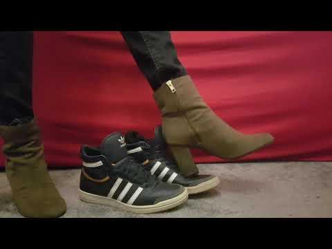 Adidas Top ten Hi Sleek tortured by Grey Adidas and heeled booties