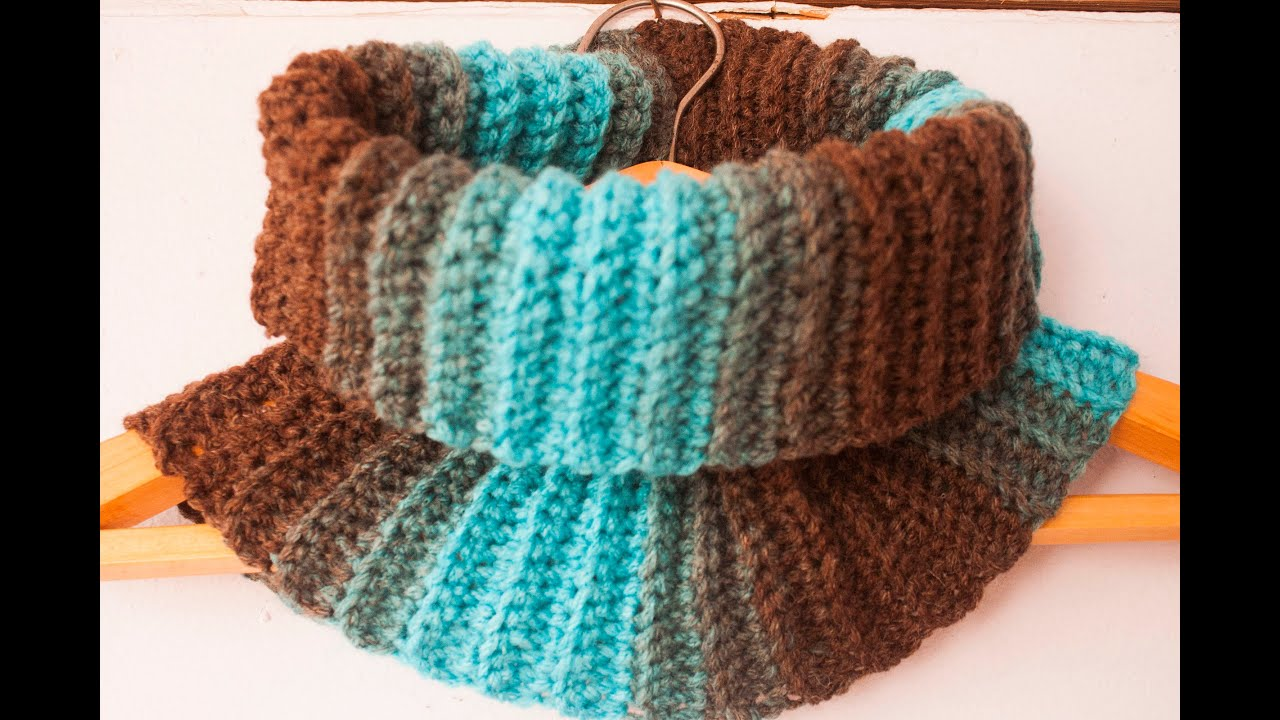 crochet ribbed cowl - YouTube