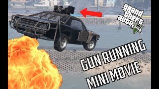 GTA V Mini Movie: GUNRUNNING EPIC HEIST (Flying Bikes VS Car with MiniGun)