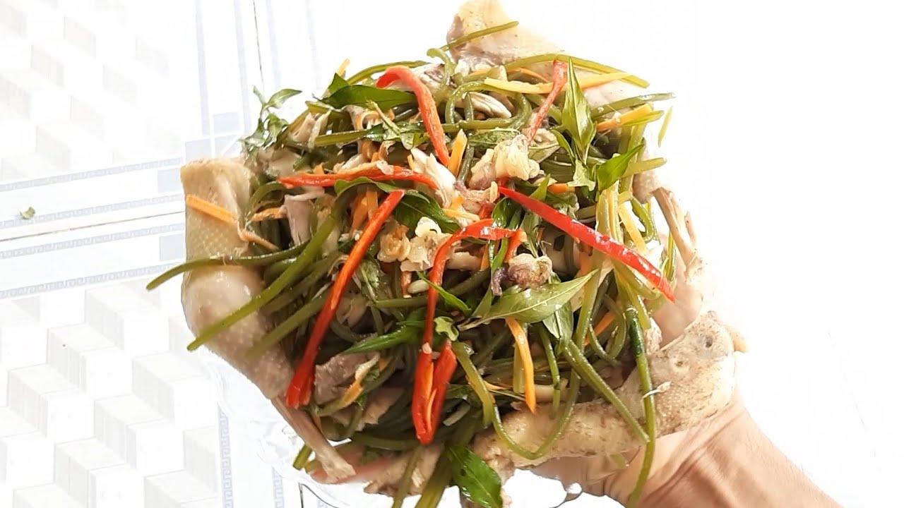 Đọt rau lang trộn gỏi gà, đặc sản miền tây