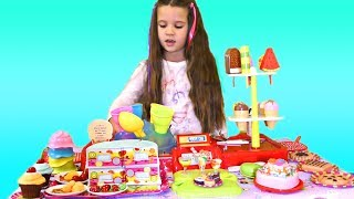 Baby dolls in Ice cream cake shop pretend play with Nika and Kids Toys