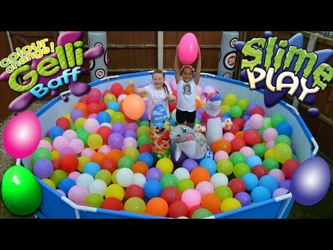 Thumbnail: Slime Baff!! - Balloons - Swimming Pool Toy Challenge - Giant Surprise Egg Hunt Opening
