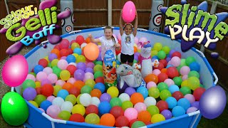 Slime Baff!! - Balloons - Swimming Pool Toy Challenge - Giant Surprise Egg Hunt Opening