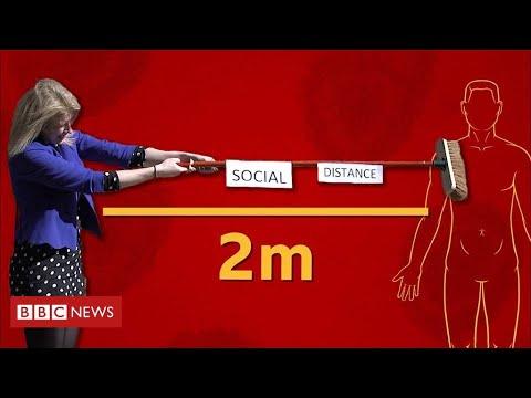 Coronavirus social distancing advice: What two metres looks like - BBC News
