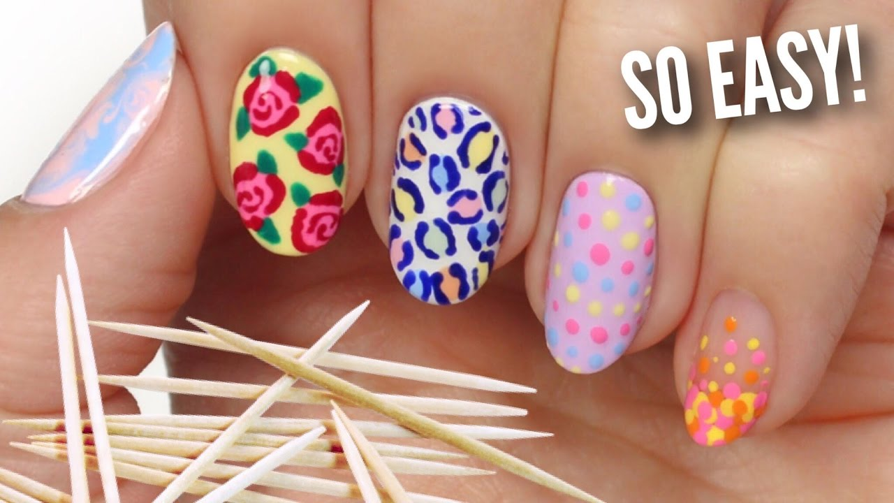 Nail Art For Beginners Using A Toothpick Youtube