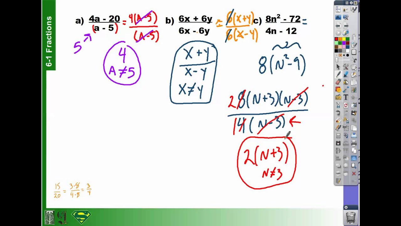 How To Simplify Fractions With Polynomials Part 1 61