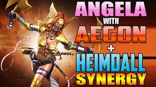 5/65 Angela With Aegon + Heimdall Synergies Hits Like A Truck - Marvel Contest Of Champions