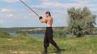 Martial arts: long stick, rotation, training.