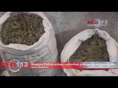 VIDEO Asegura Policía Michoacán armas, cartuchos y droga en dos vehículos, en Jacona