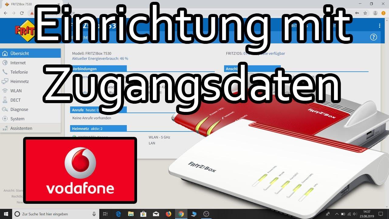 Fritzbox am Vodafone DSL Anschluss mit Zugangsdaten einrichten